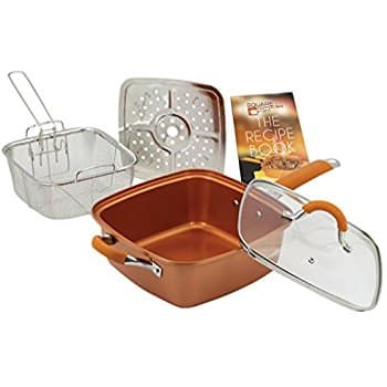 Copper Chef brand Cooking Set (Square Pan, Glass Lid, Frying Basket, Steam Rack, Recipe Book) all for $35 + free shipping *Kohl's Cardholders*