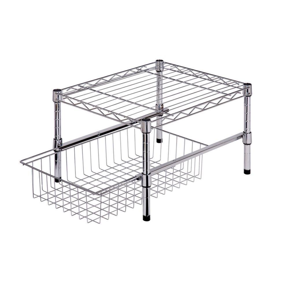Pull Out Wire Basket Base Cabinet Chrome Kitchen Storage: Metal Table W/ Basket $17, Steel Shelf W/ Basket Cabinet