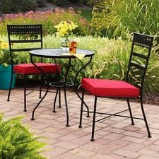 Mainstays Wrought Iron 3-Piece Bistro Set Black (Table + 2 Chairs w/ Red Cushions) $48 or White (Table + 2 Chairs w/ Green Cushions) $48 free ship to store from Walmart
