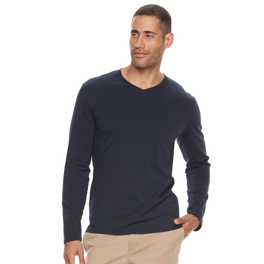 Men's Apt. 9 Premier Flex Long-Sleeve Solid V-neck Tee (Many Colors) 1 for $6.99 or 6 for $35 + Free Shipping *Kohl's Cardholders*