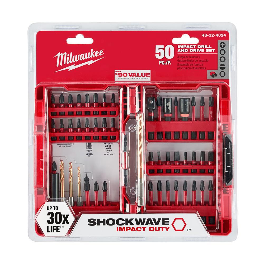 50-Piece Milwaukee Shockwave Impact Duty Driver Bit Set $14.97 at Home Depot