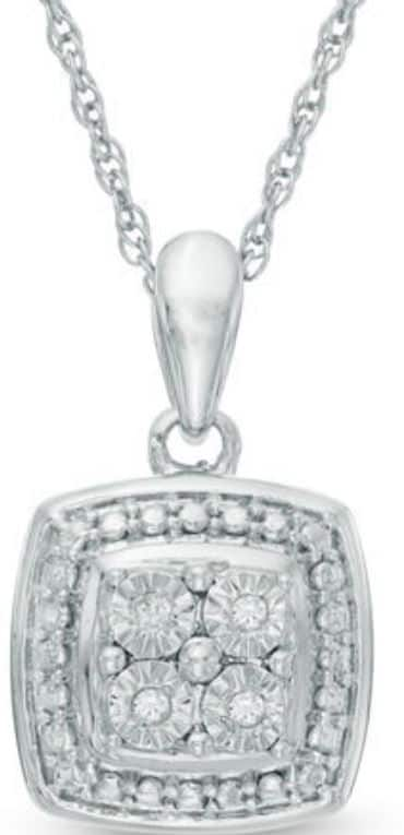 Zales Quad Diamond Accent Square Frame Pendant in Sterling Silver $29.99 + Free Shipping