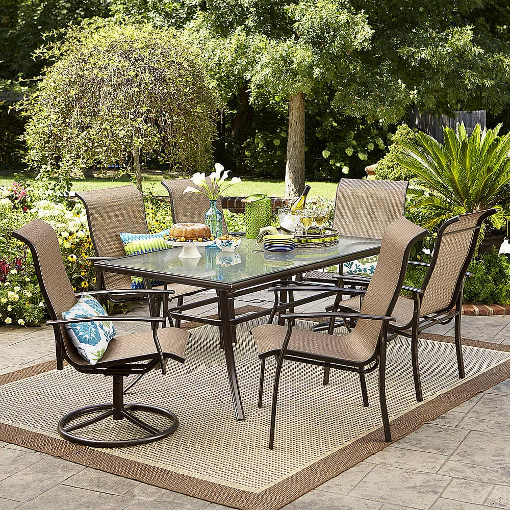 7 Piece Garden Oasis Harrison Textured Glass Top Outdoor Dining Set $299.99  At Sears