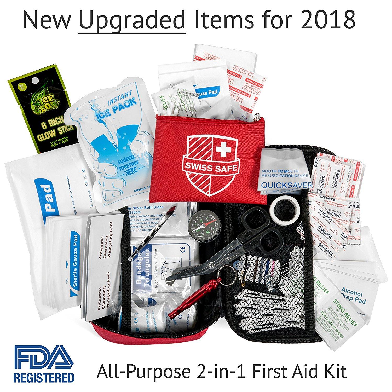 120 Piece Swiss Safe 2 in 1 First Aid Kit Bonus 32 Piece Mini