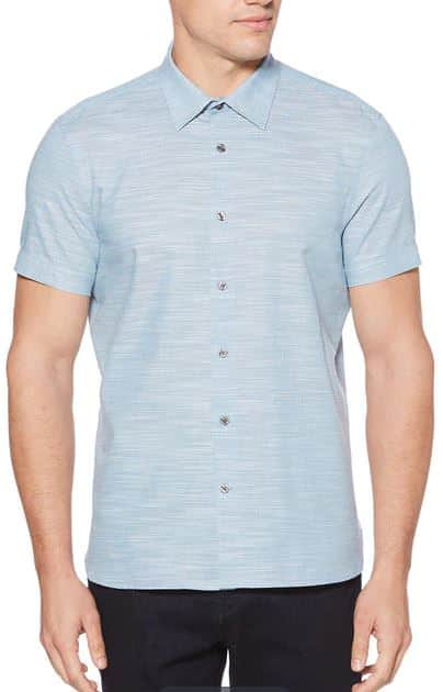 Perry Ellis Extra 40% off Sale Styles + 20% off Coupon Code: Textured V-Neck $9, Short Sleeve Slub Textured Shirt $10.50, Micro Stripe Polo $12, Men's Braided Belt $9.60 & more