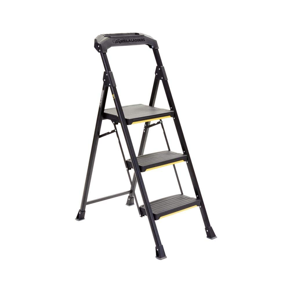 Gorilla Ladders 3 Step Steel Step Stool 300lb Capacity
