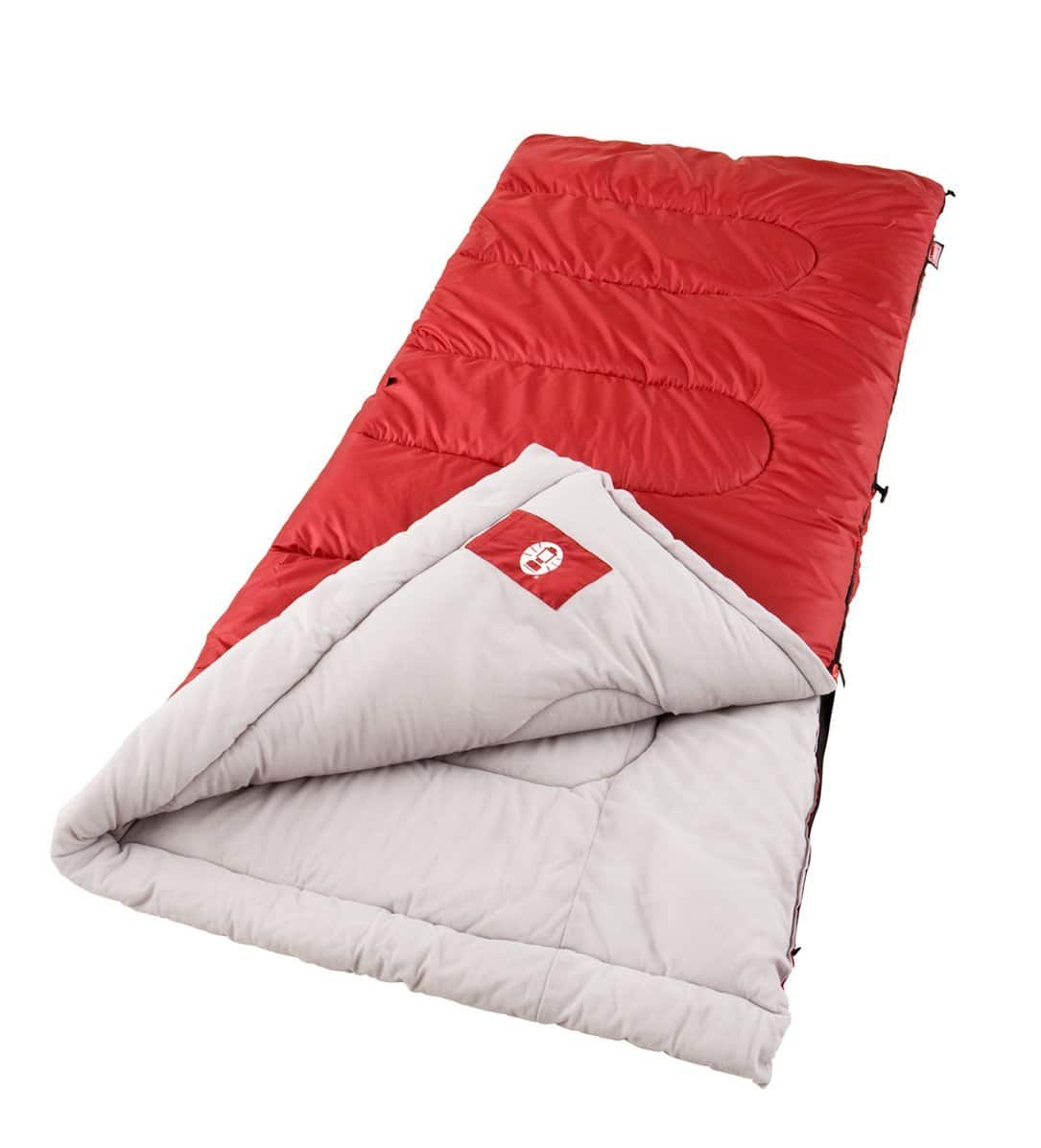 Coleman Palmetto Cool Weather Sleeping Bag $18.75, Coleman Green Valley 30 Degree Sleeping Bag $25, Coleman 8-Person Red Canyon Tent $94