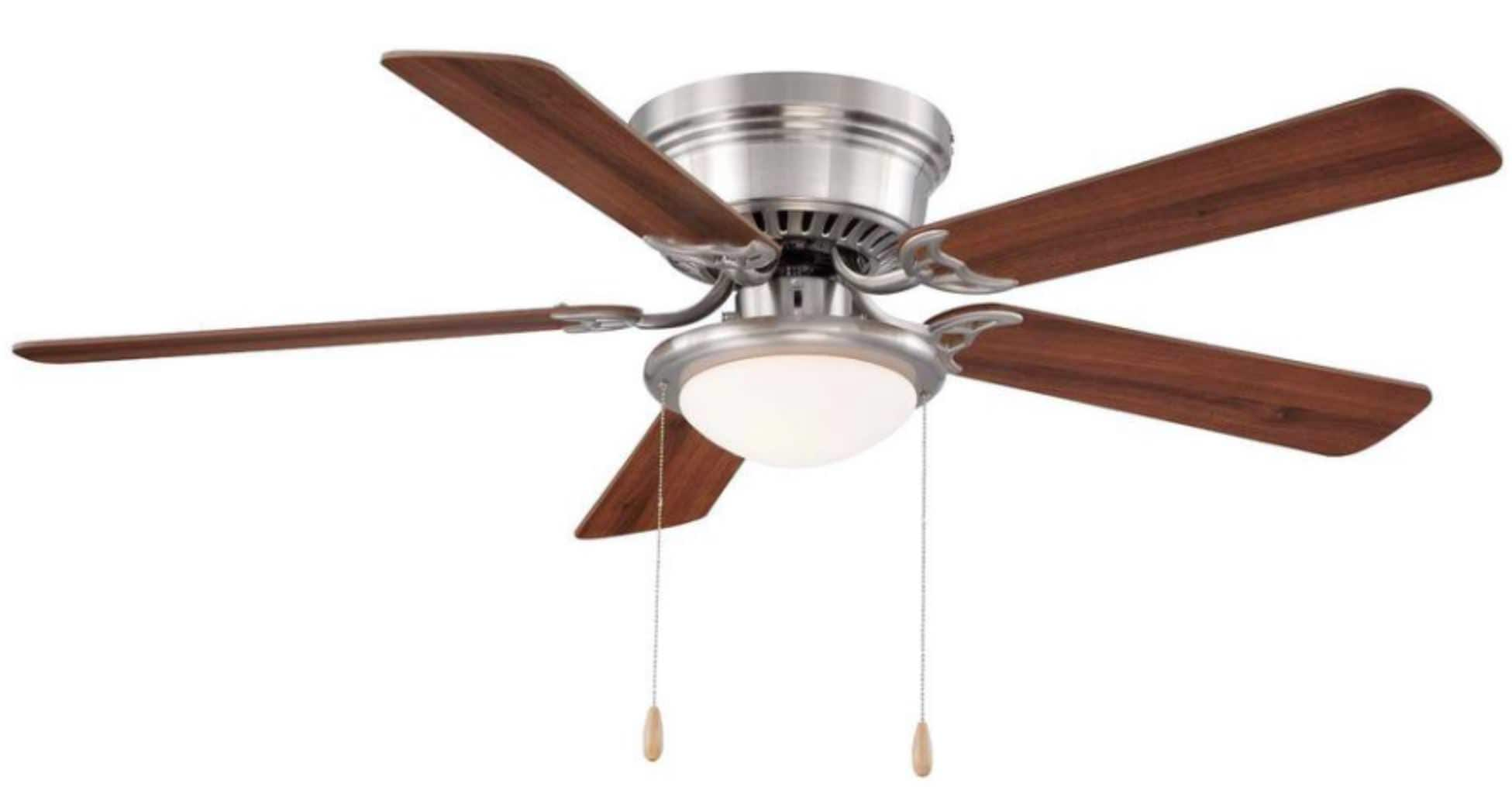 "Hugger 52"" LED Indoor Brushed Nickel Ceiling Fan with Light Kit $39.97 + Free Store Pickup"