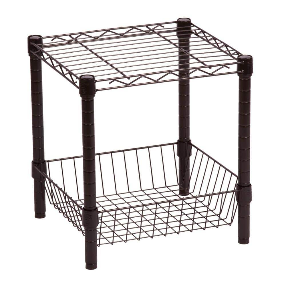 Honey-Can-Do Commercial Metal Table with Basket (black) for $12.76 at Home Depot