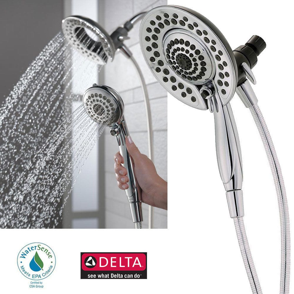 Delta In2ition 5 Function Handheld 2 In 1 Dual Shower Head Chrome