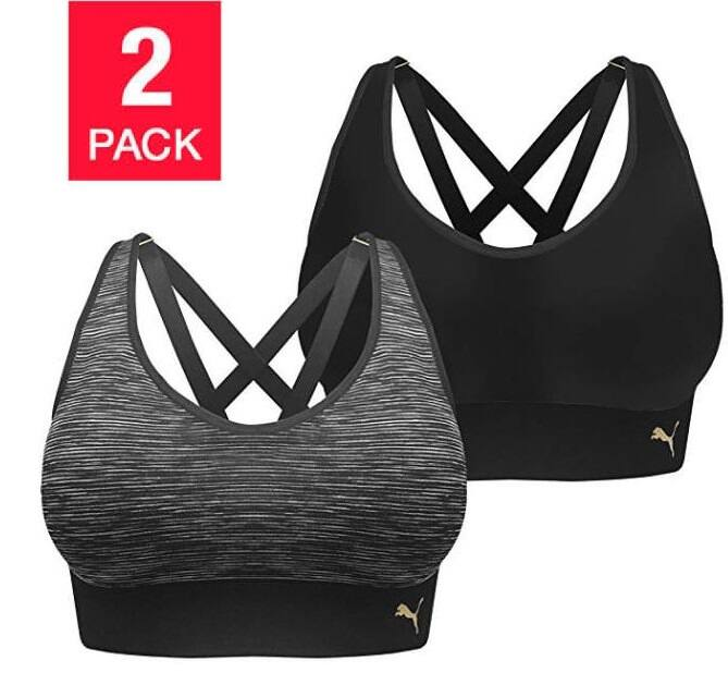 742e4f5a20 2-Pack PUMA Ladies  Seamless Sports Bras (black grey) - Slickdeals.net