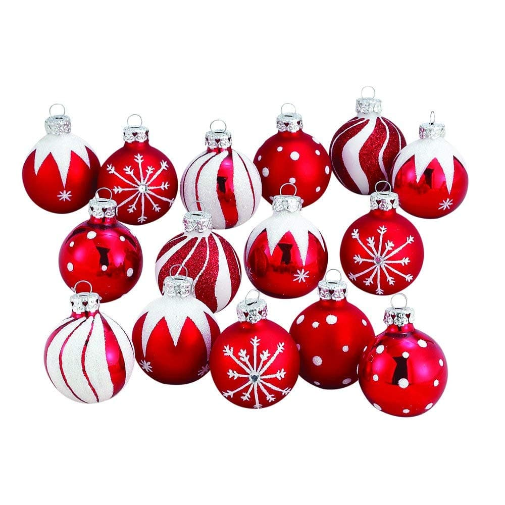 15-Pack Christmas Small Red Bulb Ornaments $7 at Amazon *Add-on Item* or 12-Piece Glass Iridescent Snowflake Oranaments $8.50