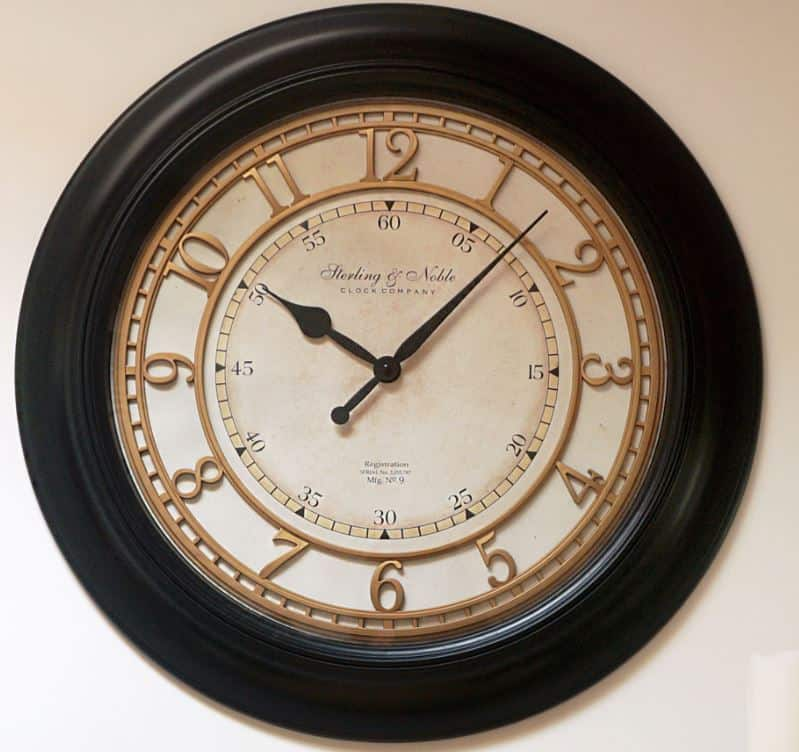 "Better Homes & Gardens 28"" Black Traditional Wall Clock $12 w/ free store pick up or FS on $35+"