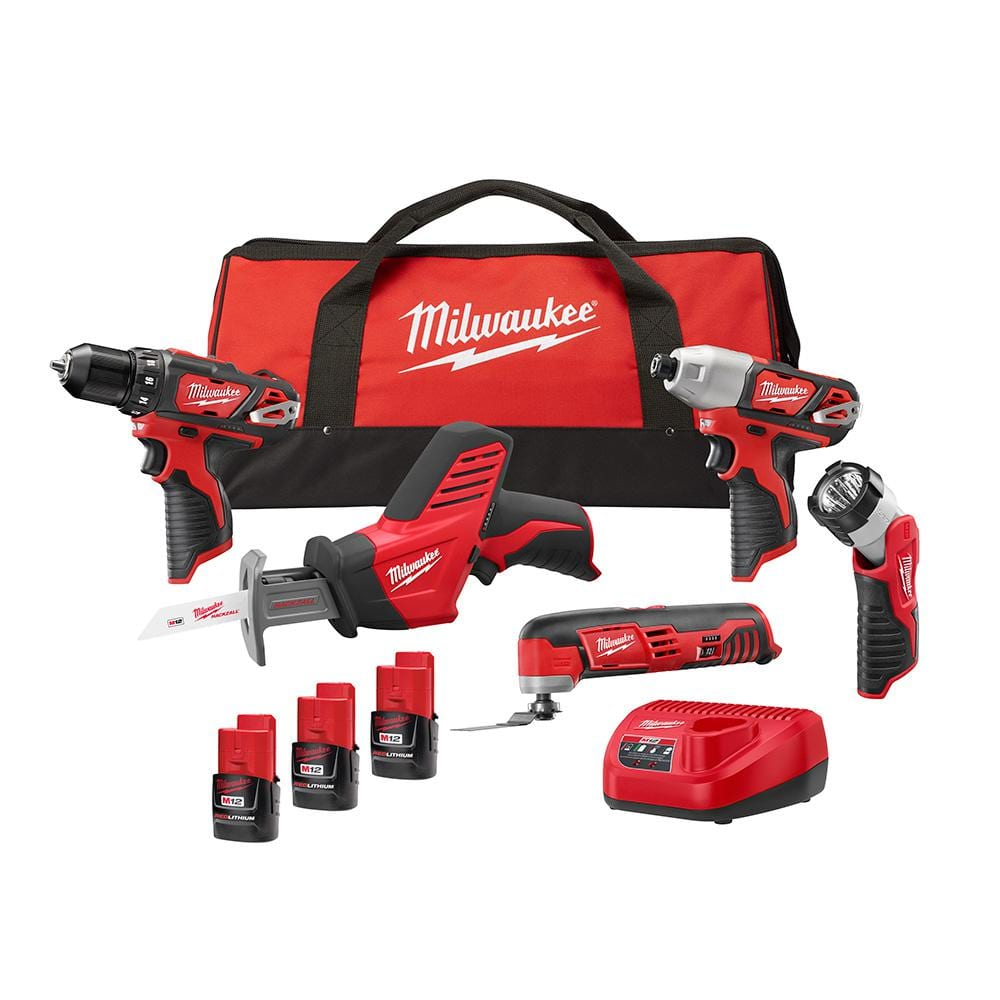 Milwaukee M12 12-Volt Li-ion Cordless 5-Tool Combo Kit