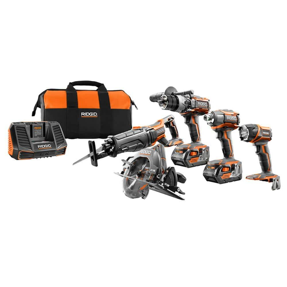 5-Tool Ridgid 18-Volt Gen5X Cordless Li-ion Combo Kit w/ 2 Batteries $299 at Home Depot