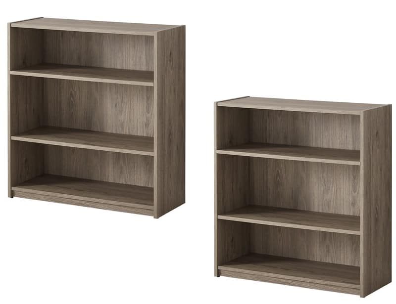 Set of 2 Bookcases (3-Shelf) in Rustic Oak $19.98 at Walmart / in-store pick up is available