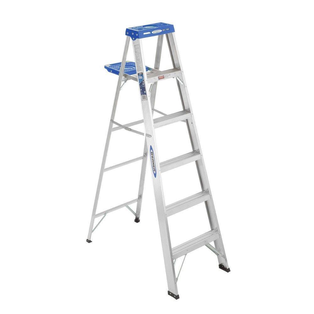 Werner 6' Aluminum Step Ladder Type I Duty Rating (250-Lb Capacity) for $44.96 or Werner 6' Fiberglass Step Ladder Type IA Duty Rating (300-Lb Capacity) for $69.96