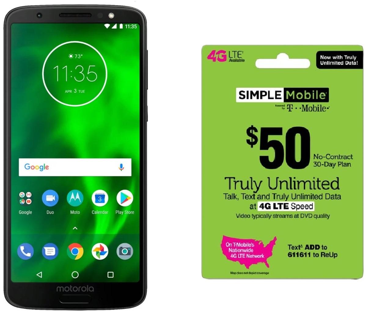 32GB Motorola Moto G6 (Unlocked) + $50 Simple Mobile Prepaid Card