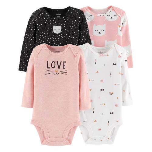 4-Pack Baby Girl Carter's Cat Graphic Newborn Bodysuits $3.64 + Free S/H **Kohl's Cardholders**