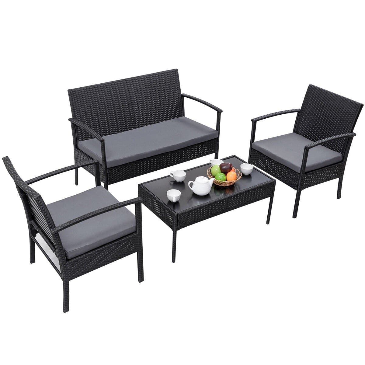 4-Piece Rattan Wicker Outdoor Patio Furniture Set by Costway $144 + Free Shipping