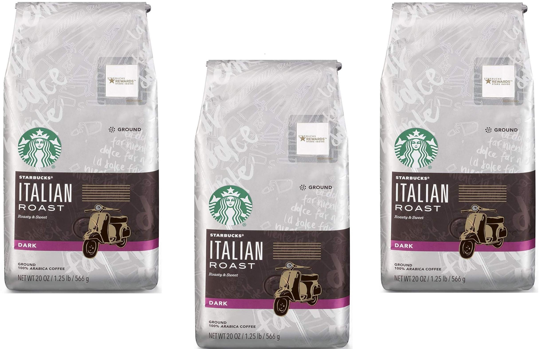 *DIED FAST* 20-oz Starbucks Italian Roast Dark Roast Ground: 3 for $16.40 + free shipping w/ 5% S&S (or $13.27 w/ 15%)