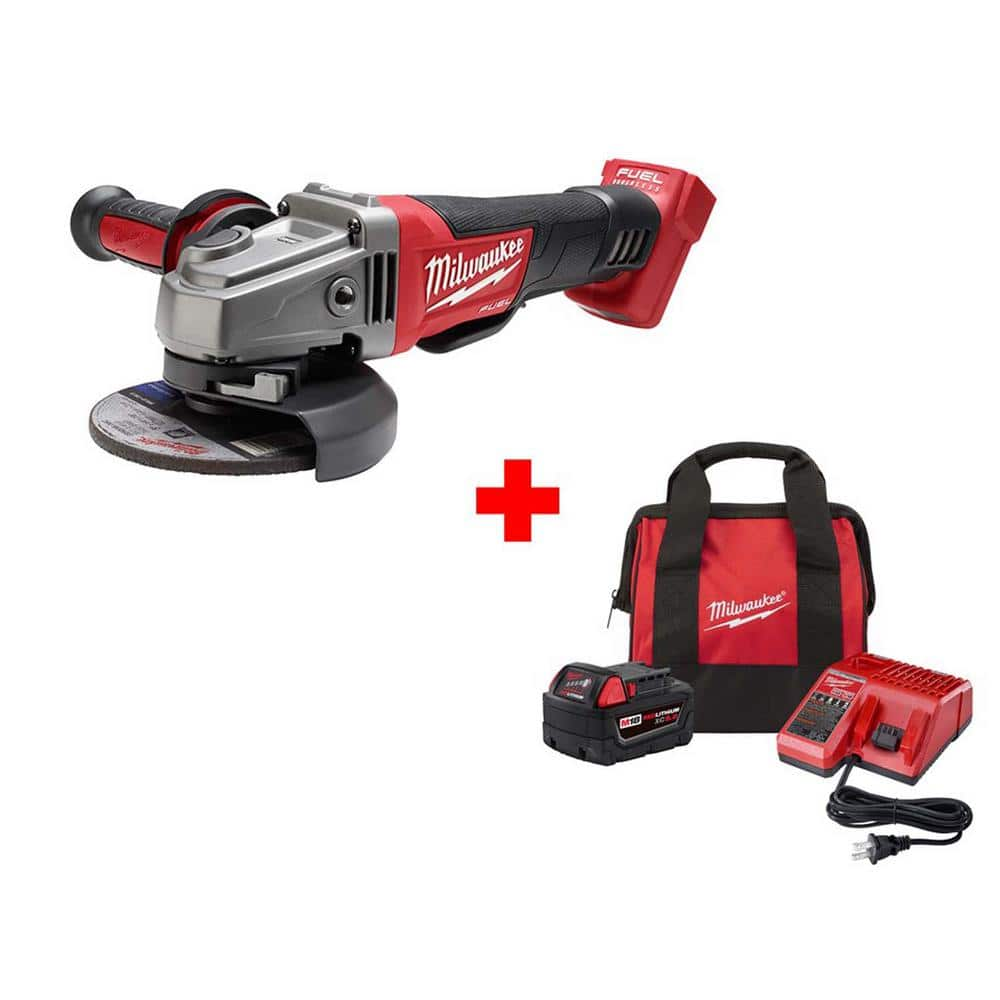 """Milwaukee M18 FUEL 18V Li-ion Brushless 4-1/2""""/5"""" Grinder w/ Paddle Switch w/ 1x 5Ah Battery $169, M12 12V Li-ion Cordless Sub-Compact Band Saw Kit w/ 1x 4Ah Battery, Charger $129"""