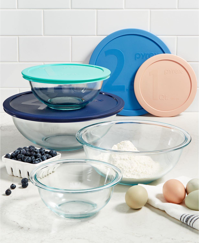 Pyrex 8-Piece Glass Mixing Bowl Set (4-Bowls+4-Lids) $14.99, Pyrex 12-Piece Glass Storage Set (6-Bowls+6-Lids) $14.99 at Macy's..pickup or free ship on $25