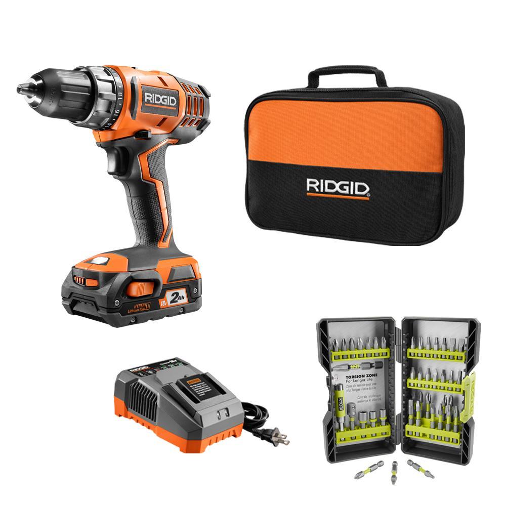 "RIDGID 18-Volt Cordless 2-Speed 1/2"" Compact Drill/Driver Kit + Black Oxide Drill Bit Set $79.97 + Free Shipping"