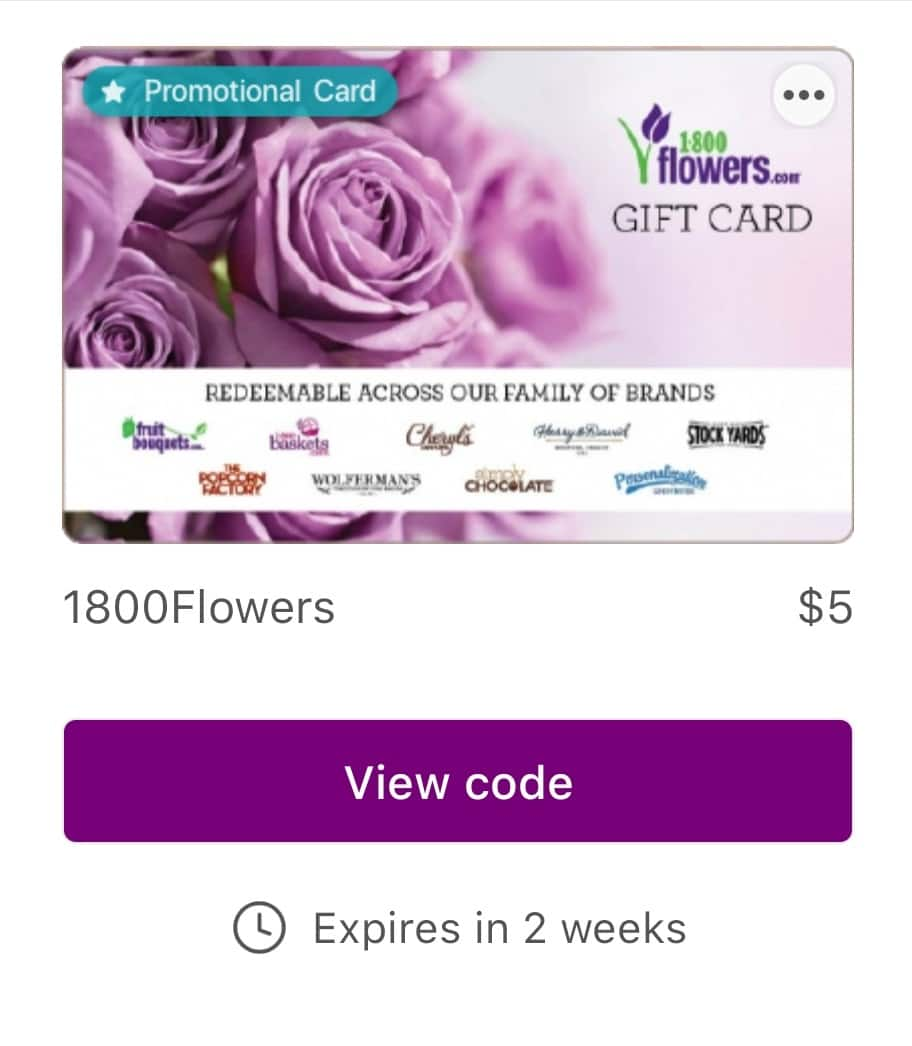 Bitmo App: Free $5 Gift Card - 1800flowers