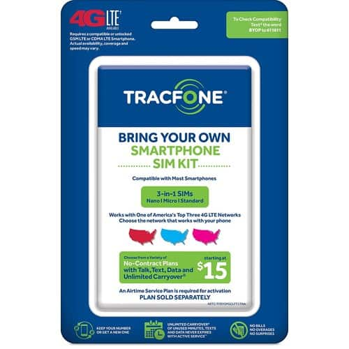 TracFone Bring Your Own Phone SIM Activation Kit (Triple Punch) - Amazon - $1
