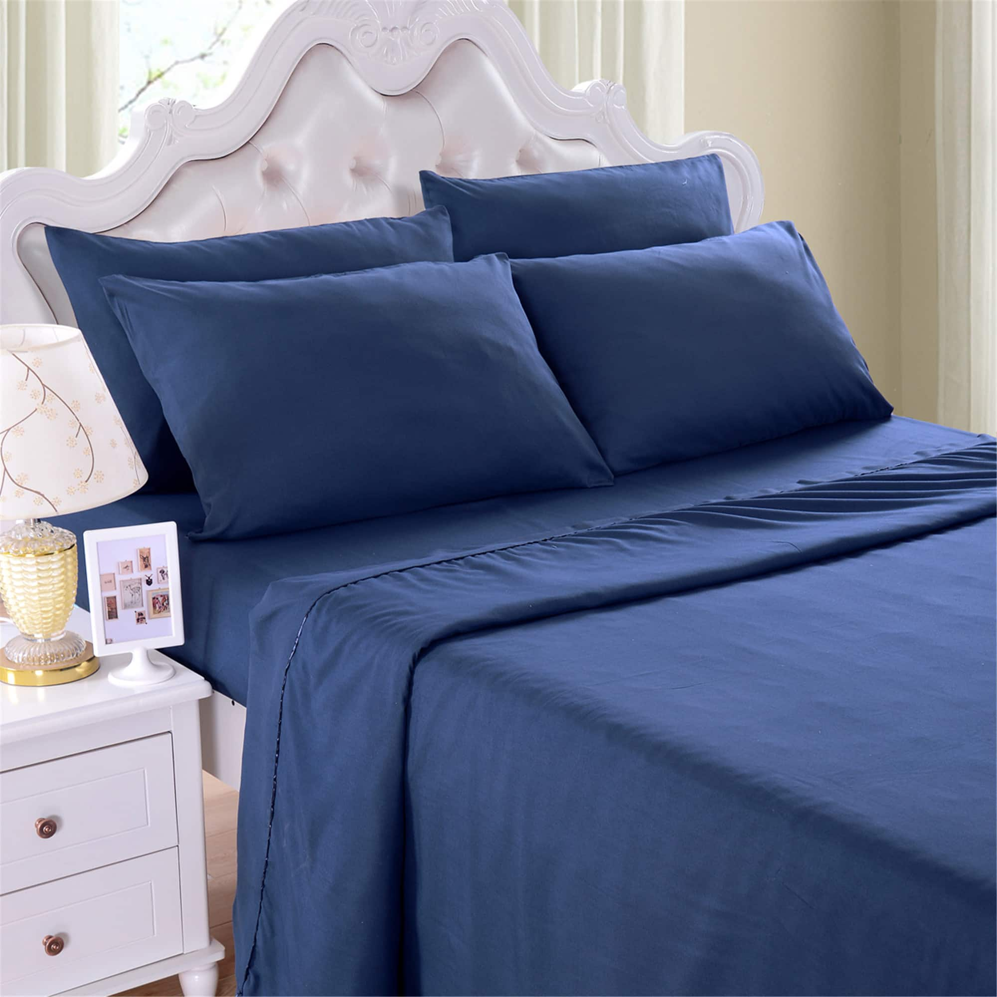 "6 Pieces Bed Sheet Set,18"" Deep Pocket, Brushed Microfiber ,Wrinkle & Fade Resistant Bed Sheet, Very Soft, Elegant Sheets Set For Perfect Sleep (Queen Size, Navy) $14.29"