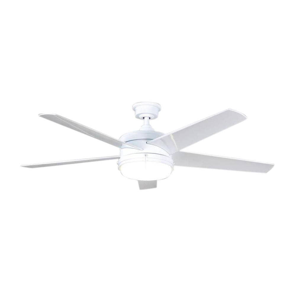 Home Decorators Collection Portwood 60 in. Integrated LED Indoor/Outdoor White Ceiling Fan with Light Kit - $55