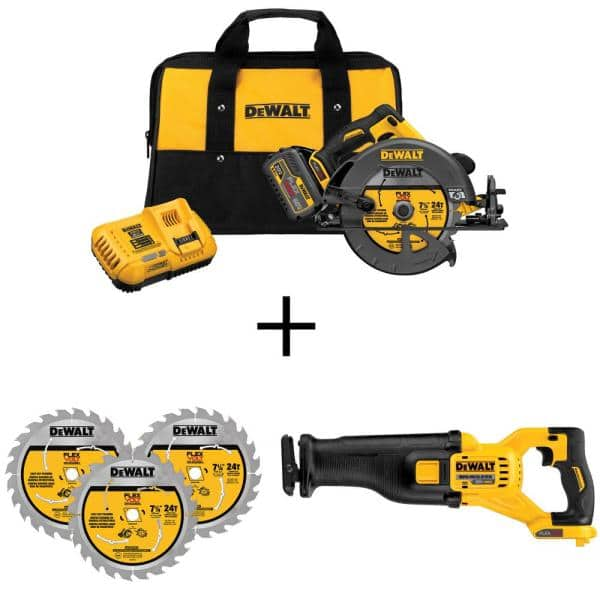 FLEXVOLT 60-Volt MAX Li-Ion Cordless Brushless 7-1/4 in. Circ Saw + 60-Volt Brushless Recip Saw + Blades $299
