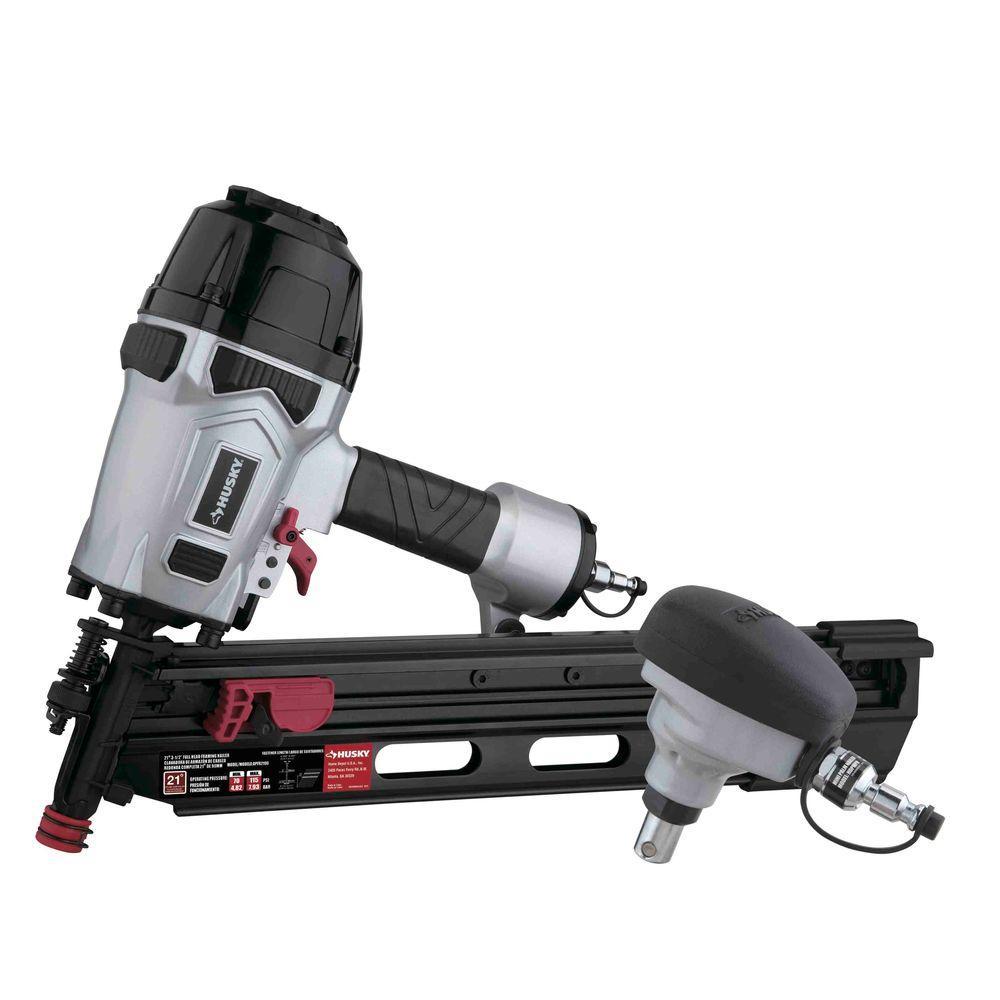 "Husky Pneumatic 21-Degree 3-1/2"" Full Round Head Framing Nailer and Pneumatic Mini Palm Nailer Kit $119.88"