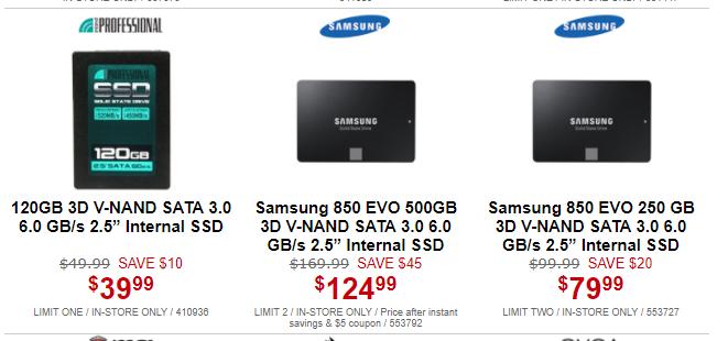"Samsung 850 EVO 500GB SATA 3.0 2.5"" SSD for $124.99 @ Microcenter B&M"