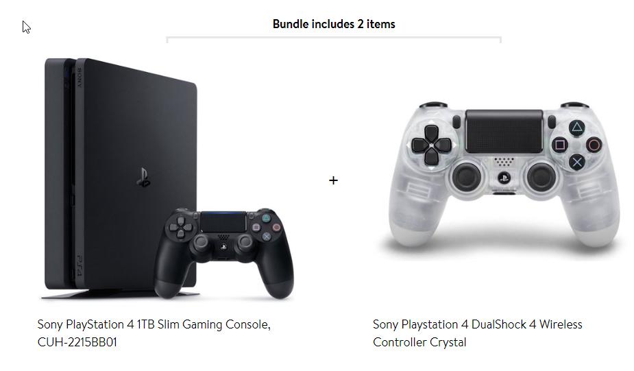 PlayStation 4 Slim 1TB Black with Bonus Crystal DualShock Controller $299