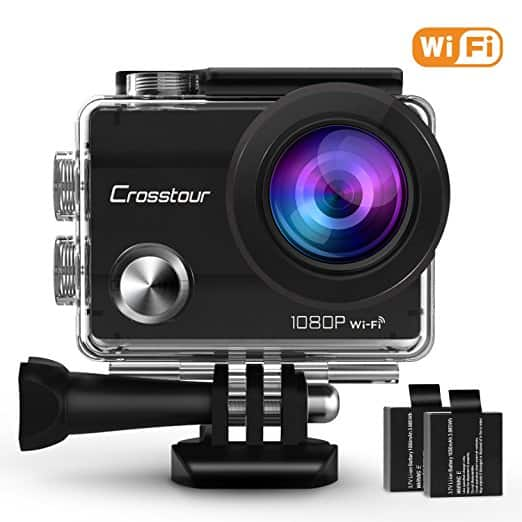"Crosstour Action Camera 1080P Full HD Wi-Fi 12MP Waterproof Cam 2"" LCD 30m Underwater 170°Wide-angle Sports Camera  2  1050mAh Batteries and Mounting Accessory Kits $39.77"