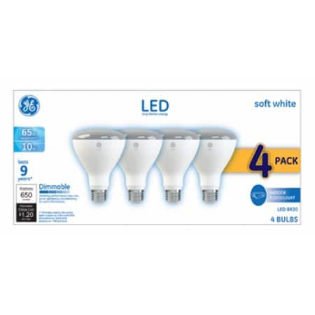 GE LED 10W Soft White, BR30, Dimmable, 4pk Clearance - Walmart B&M YMMV $4