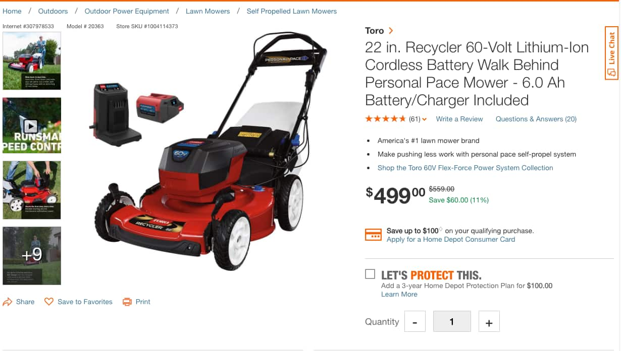 YMMV: Toro Recycler 60V Personal Pace mower with 6.0Ah battery - $499