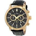 Lucien Piccard Men's LP-12552-YG-01-BK Cartagena Analog Display Japanese Quartz Black Watch $54.99