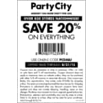 20% OFF entire purchase online & in-store at Party City