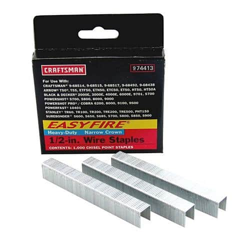 "Craftsman 1000pk Staples 1/4"" - 9/16"" many sizes, free in-store pickup $0.92"