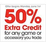 GameStop: 50% Extra Credit for any Video Game or Accessory Trade-In 6/1 - 6/7
