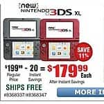 New Nintendo 3DS XL Black, Red $179.99 + Free Store Pickup @Frys *B&M Only*