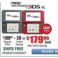 Frys Deal: New Nintendo 3DS XL Black, Red $179.99 + Free Store Pickup @Frys *B&M Only*