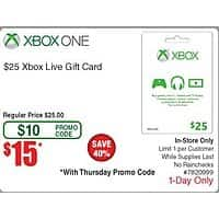 Frys Deal: $25 Xbox Live Gift Card for $15 After Promo Code (In-Store Only) @Fry's *Starts 7/2*