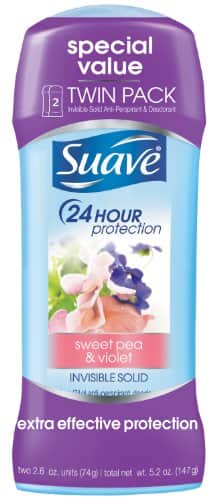 Suave Antiperspirant Deodorant, Sweet Pea and Violet 2.6 oz, Twin Pack $2.19 or LOWER Via Amazon S&S