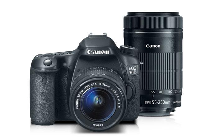 Canon EOS 70D DSLR EF-S 18-55mm IS STM with EF-S 55-250mm IS STM Lens Kit Refurbished $699.99