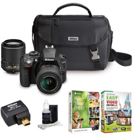 Nikon D3300 24MP DSLR Camera Two Lens + Adapter Bundle at BuyDig.com $399 manufacture refurb.