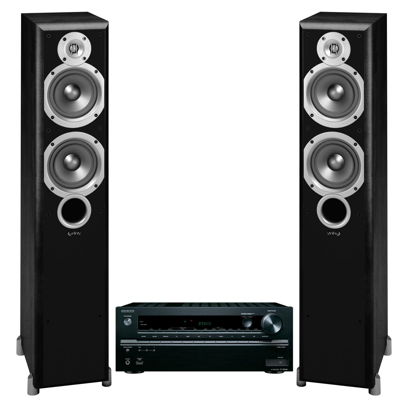 Onkyo TXNR646 7.2 Channel w/ Infinity Primus P253 Floorstanding Speakers (Black) for $499.00